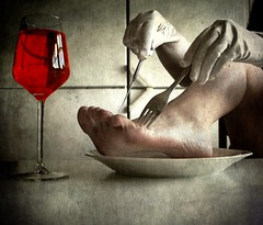 Self-cannibalism (JenniPenni) Tags: texture glass dinner dark foot scary wine drink eating knife plate fork subject macabre 365 conceptual footfetish platesofmeat mecrazy forkknife selfcannibalism dryhumororhumoratall theglovesarebackagain nevermydear