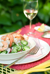 picnic prawns (mwhammer) Tags: pink summer white green vegetables yellow dill fun salad juicy lemon radishes bright pastel cucumber shrimp prawns fresh crisp alive crunchy plump propstyling fromthegarden foodstyling viniagrette melinahammer