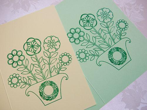 Button plant gocco cards