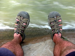 Keen sandals keeping my feet cool near Minlou, Gansu Province, China