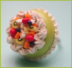 Fruit Cake (stOOpidgErL) Tags: cute green cake fruit dessert miniature diy necklace strawberry colorful sweet handmade craft jewelry whippedcream ring plastic lime resin kiwi pendant fauxfood stoopidgerl