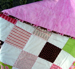 love patchwork quilt detail, backside, binding