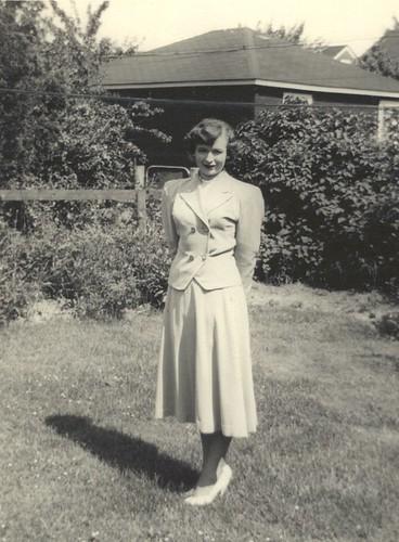 Mom K in beige suit c 1954