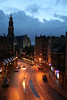 view from our room (russ david) Tags: street city holland netherlands amsterdam architecture night clouds hotel europe dusk trolley september holanda 2008 straat westerkerk raadhuisstraat nederländerna westernchurch