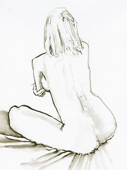20080815 El-Paso Mony 01 (r0sejam) Tags: woman art pencil ink nude sketch sitting body drawing bodylanguage brush line elpaso figure figuredrawing seated brushpen lifedrawing mony femalefigure