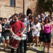 GMF students on the march in samba percussion workshop, garden of Palazzo Pretorio