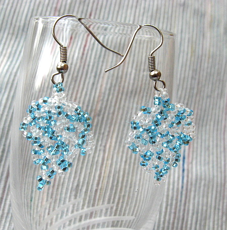Blue and Silver Beadwoven Earrings