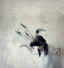 I'll Come Back (kat burns) Tags: selfportrait texture girl birds self freedom mask feathers free peacockfeathers canon400d reginaspektorlyricsthecall texturesquared