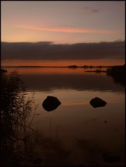 Too late (Kirsten M Lentoft) Tags: sunset sky lake reflection water denmark rocks arresø infinestyle life~asiseeit kirstenmlentoft