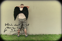 U think about the end When your Angel is busted (Davidoff A) Tags: road shadow bw white black angel contrast fly is wings angle legs think crosses wear your angels u when end trousers about busted squared