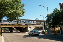 Eastbound CTA Green Line train at the Oak Park Avenue station. Oak Park Illinois. August 2006.