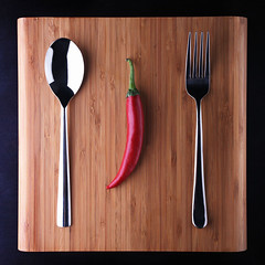 Dinner for one (Francesco Bartaloni) Tags: red italy stilllife food vegetables pepper florence still italia fork spoon vegetable firenze tavolo cibo redpepper tabletop francesco peperoncino vegetale naturamorta vegetali posate goldstaraward francescobartaloni