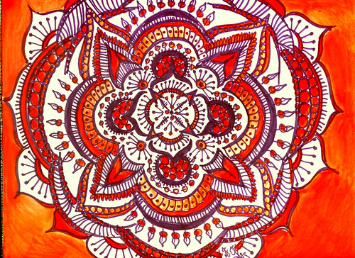 Purple and Orange Chakra Mandala