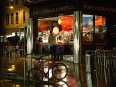 West Cornwall Pasty Company (Dominic's pics) Tags: food west wet rain bike bicycle shop night brighton chairs shoppingcentre company piazza eastsussex pasty corwall churchillsquare rainproof cafechairs westcornwallpastyco stackingchairs westcornwallpastycompany aluminiumchairs