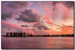 "Fading Daylight over the ""Lake"" (Fraggle Red) Tags: pink sunset orange moon clouds evening florida dusk jpeg hdr aventura canonefs1022mmf3545usm fpg 3exp bej abigfave goldenphotographer miamidadeco theperfectphotographer dphdr littlemaulelake ne183rdstreet"
