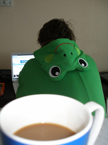 Friday morning I mysteriously awoke in a frog suit.