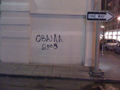 Seen on the building outside of BMWL (the N Judah chronicles) Tags: sanfrancisco win stfrancis obama electionnight bmwl