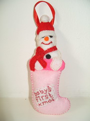 Pink Snowman Ornament (Funky Shapes) Tags: christmas uk snowman handmade decoration felt ornament dsm keepsake folksy misi etdy