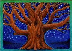 ACEO Starlit oak tree (MandarinMoon) Tags: tree oak alone branches twinkle aceo lone lonely oaktree starlit starfilledsky