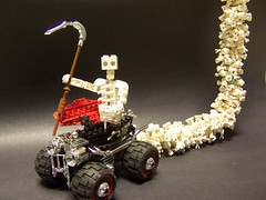 smoke n mirrors (monsterbrick) Tags: skeleton skull lego reaper bat chrome moc coffincar
