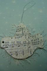 dove (skybluecrayons) Tags: christmas bird glitter vintage dove yarn ornament eyelash recycle sheetmusic chipboard piecefulbits lollishop