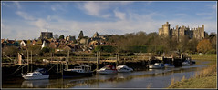 Arundel Panorama (strussler) Tags: england castle canon river boats eos town cathedral westsussex sigma apo 5d arundel arun 70300 twoimagepanorama