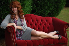 Red Sofa (Stacey Gardner Photography) Tags: trees girls red smile grass youth hair georgia clothing long pretty dress natural legs outdoor head makeup teens lifestyle velvet redhead couch sofa teen heels casual jewlery redhair redcouch redsofa caios country0202 cgsalon