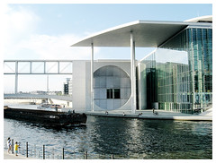 Glasshouse (roshiajin1986) Tags: sky people building berlin water glass stairs germany children boat spree glasshouse greenglass