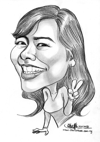 Malay lady caricature in pencil 301108