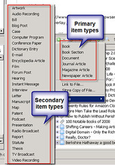 primary and secondary Zotero item types