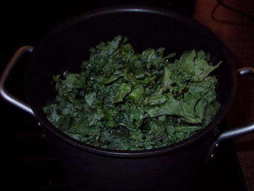 steaming kale