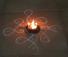 Small kolam with single lamp dark (melissaenderle) Tags: design asia tamilnadu kolam