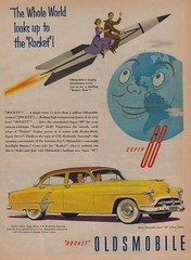"The Whole World Looks Up To The ""Rocket"" (The Pie Shops Collection) Tags: car vintage ads advertising oldsmobile 1953 1952 rocket88"
