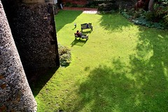 Lewes (guajava) Tags: uk shadow vacation england sunlight holiday green castle grass wall bench sussex shadows child play britain south 28mm mother sigma barbican benches moat flint eastsussex lewes foveon dp1