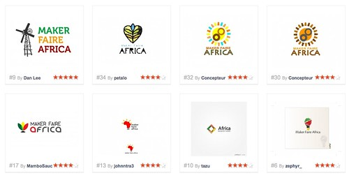 Some of the Maker Faire Africa logo entries