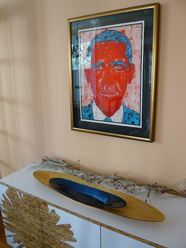 Barack Obama, by the Half and Half, over my sideboard.