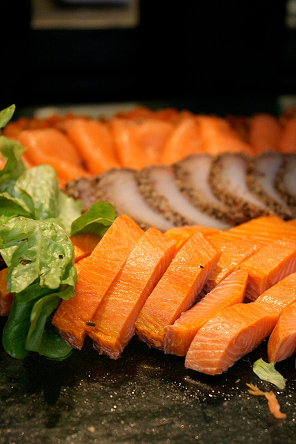 Many kinds of salmon and cured fish