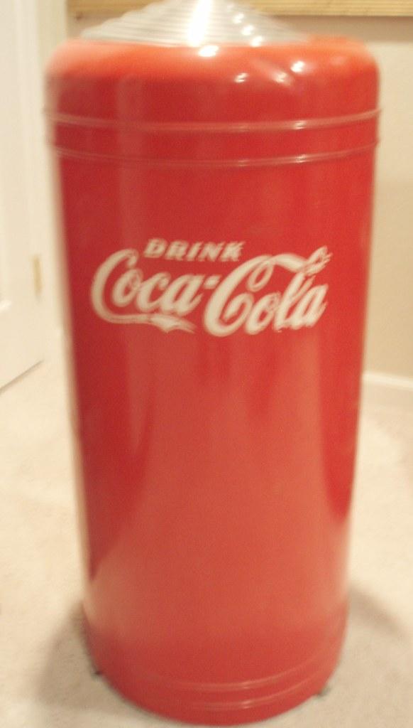 Vine 1970s Coca Cola E Metal Trash Can Waste Basket Rare