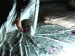 chloe-rose and  the bed sheets ii (sam norton / raffe) Tags: lamp television foot hotel back bed cigarette x sheets pillow topless ankle mattress flickering chloerose