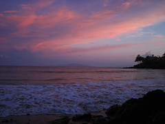 daybreak sky and surf (bluewavechris) Tags: ocean sea sky color tree water rock clouds sunrise point island hawaii lava sand wave maui palm foam swell lanai daybreak