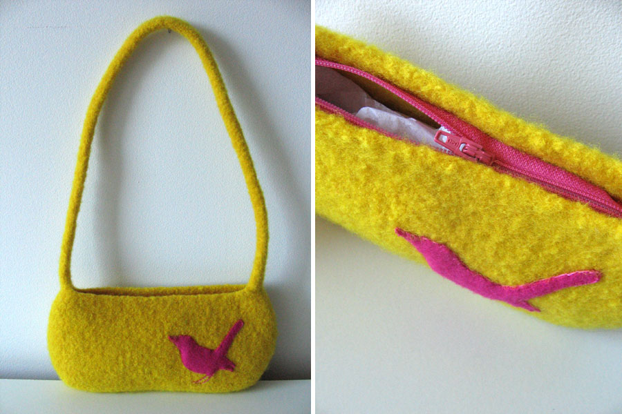 pink bird/yellow purse