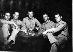 Major Alpha Fowler and crew drinking around barrel (//Andrew A Powell) Tags: italy wwii b17 1945 1944 personnel 15thairforce savinghunter alphaafowlerjr 483rdbombgroup sterparone