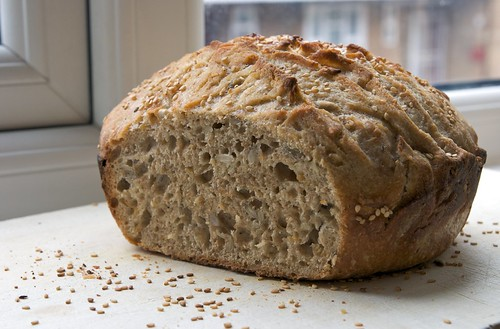Seeded Whole Wheat No Knead Bread