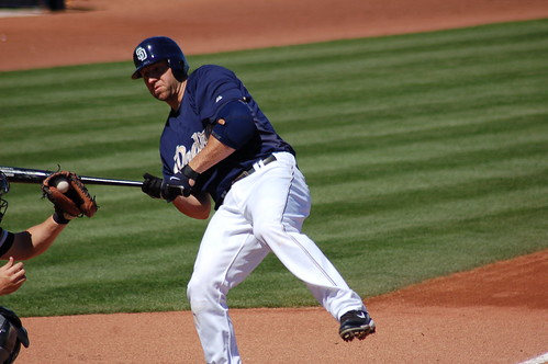 Padres third baseman Kevin Kouzmanoff backs away from a pitch by White Sox right-hander Jose Contreras