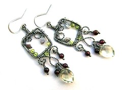 garnet peridot earrings
