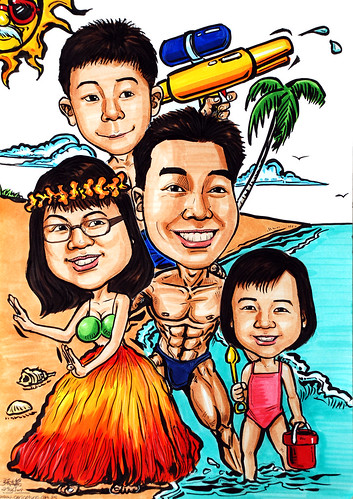 Family caricatures at the beach
