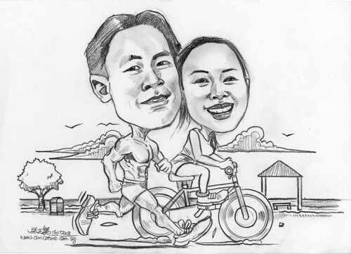 Couple pencil caricatures jogging cycling at East Coast Park