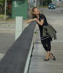 Tina (osto) Tags: bridge portrait people woman geotagged europa europe sweden sony cybershot tina scandinavia malm dscf828 osto july2008 osto
