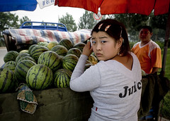 Juicy (nataliebehring.com) Tags: china summer woman horizontal fruit youth juicy chinese young watermelon farmer melons economy shenyang liaoning blueeyeshadow chinesegirl chinesewomen xigua