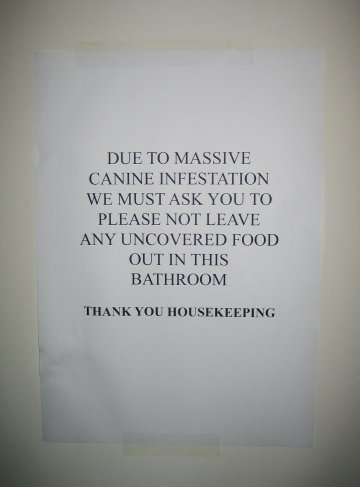 DUE TO MASSIVE CANINE INFESTATION WE MUST ASK YOU TO  PLEASE NOT LEAVE ANY UNCOVERED FOOD OUT IN THIS BATHROOM  THANK YOU HOUSEKEEPING